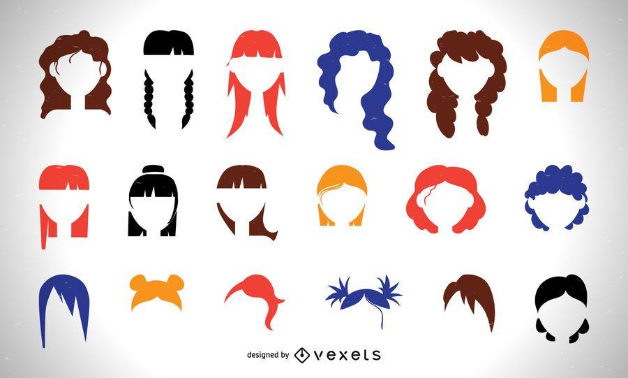 Conjunto de corte de cabelo de mulheres coloridas