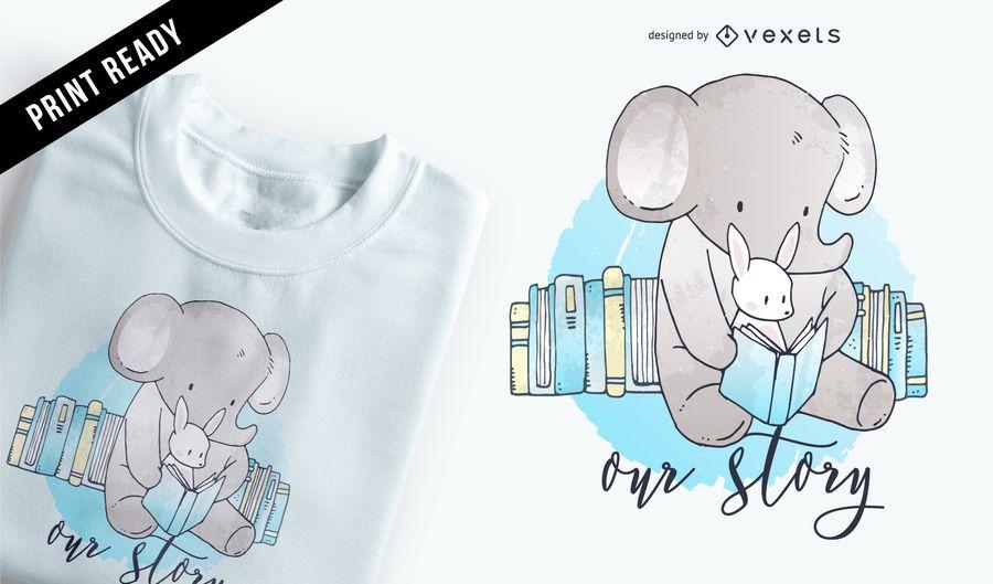Design de t-shirt dos desenhos animados de elefante