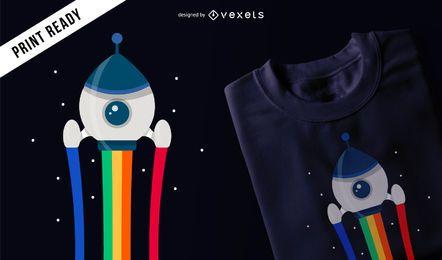 Diseño de camiseta cohete espacial.