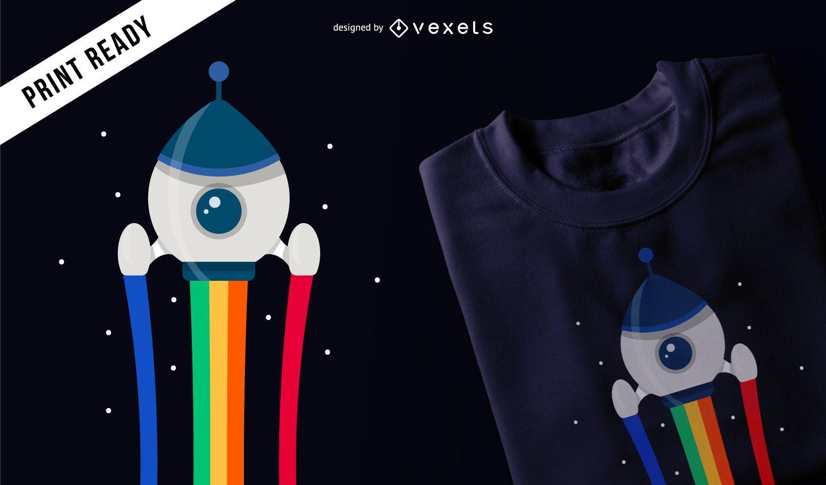 Diseño de camiseta de cohete espacial.