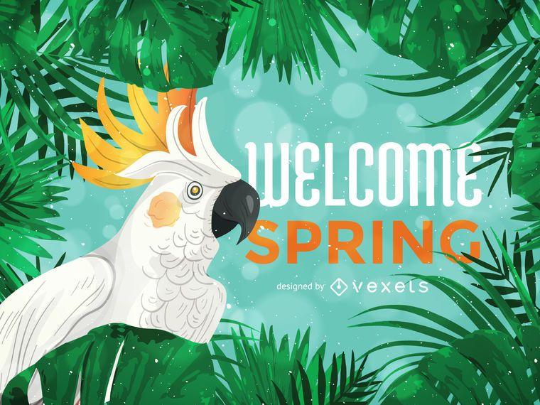 Bienvenida primavera ilustración tropical