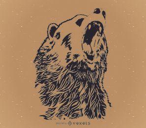 Desenho de urso uivante