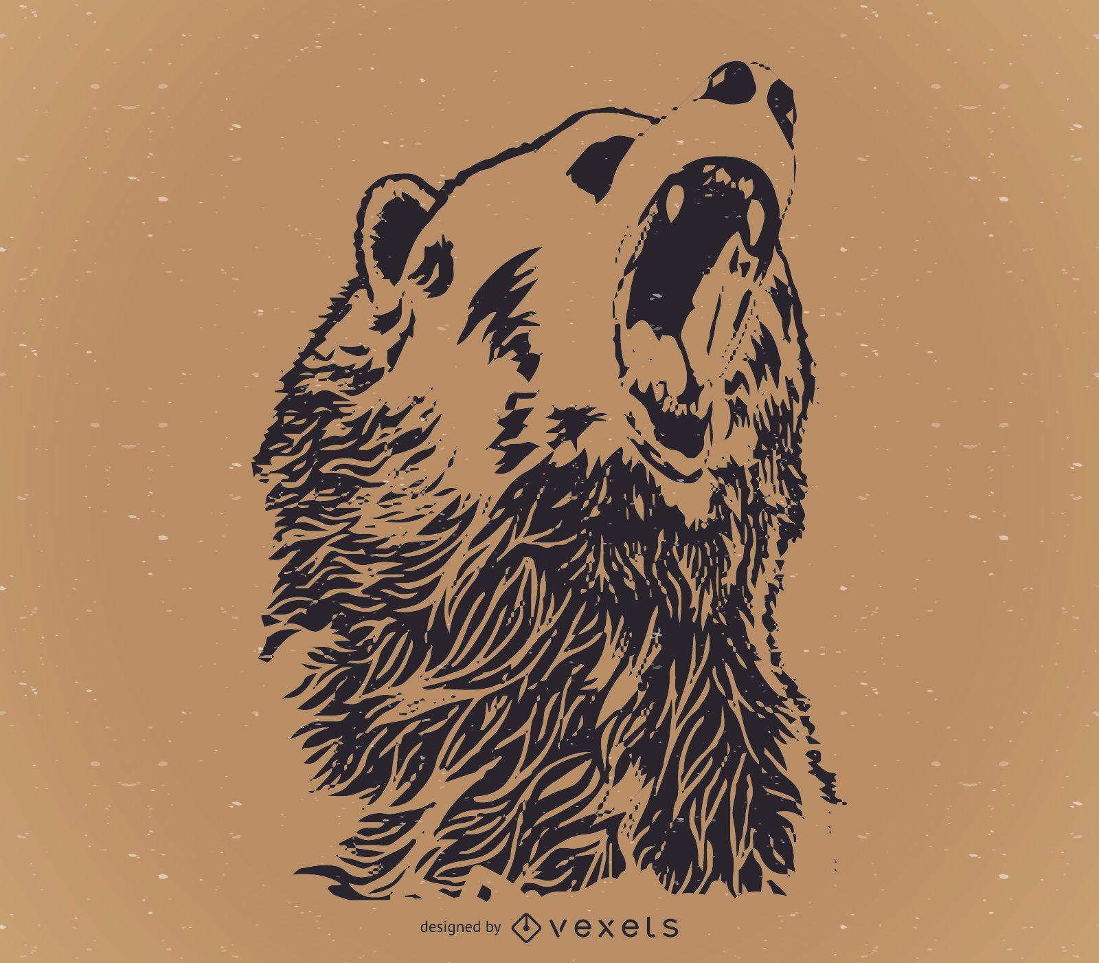 Howling bear design