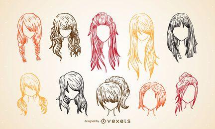 Conjunto de esboço de corte de cabelo de mulheres coloridas