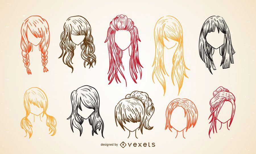 Sistema colorido del bosquejo del corte de pelo de las mujeres