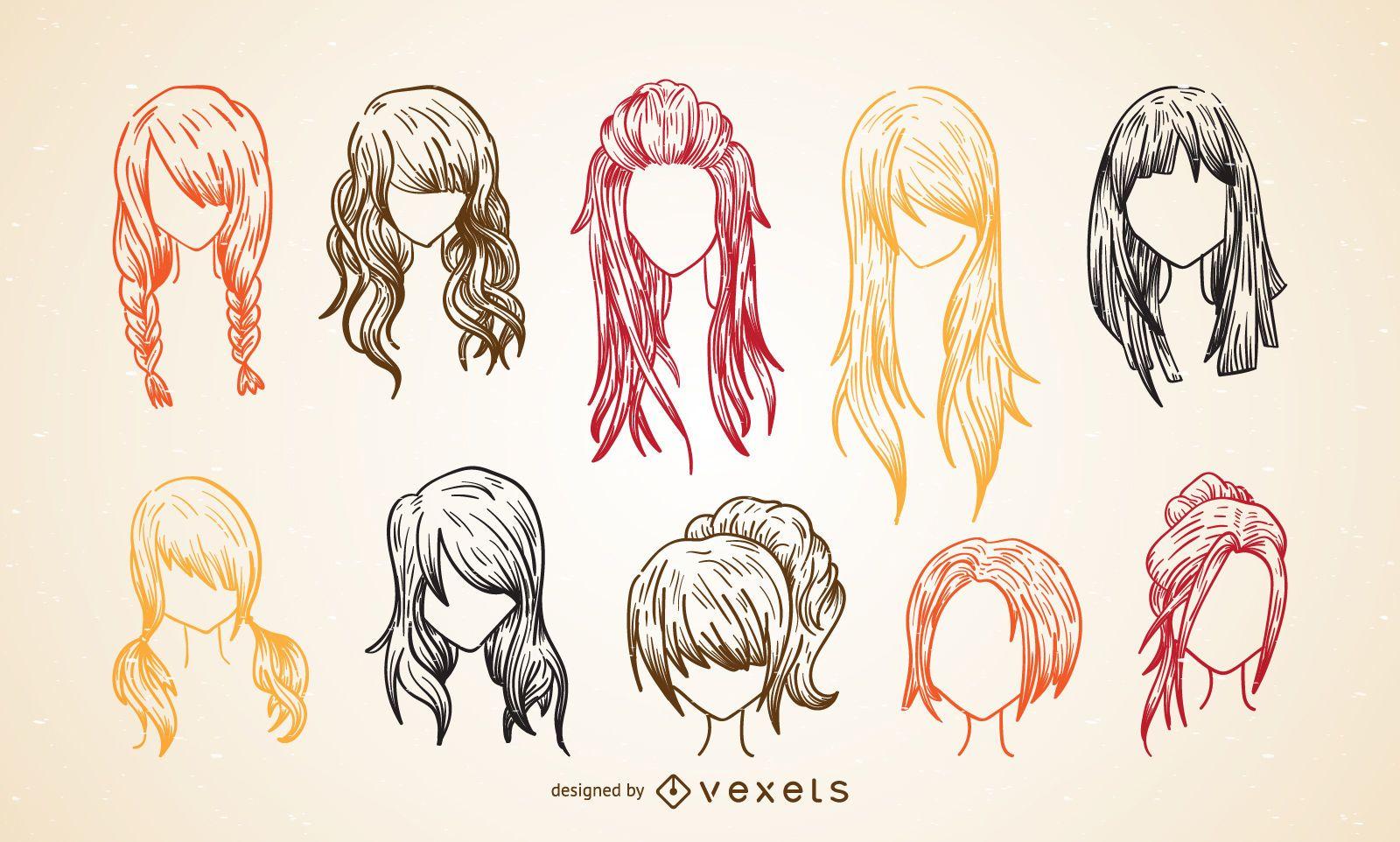 Colorful women haircut sketch set