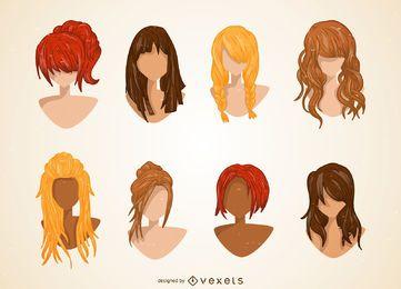 Conjunto de ilustração de corte de cabelo feminino