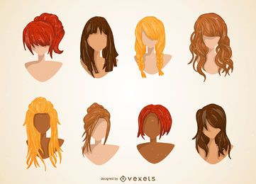 Conjunto de ilustração de corte de cabelo de mulheres