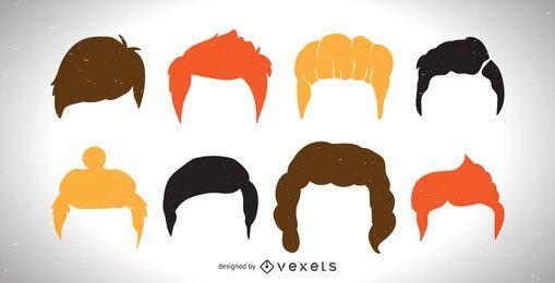 Coleção de corte de cabelo de homens coloridos