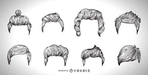 Ilustração de corte de cabelo dos homens em preto e branco