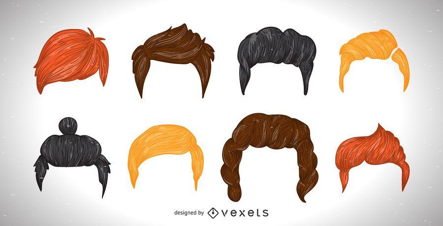 Conjunto de ilustração de corte de cabelo de homens colorido