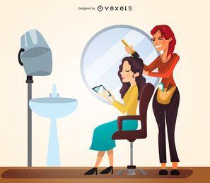 Ilustración de estudio de peluquería