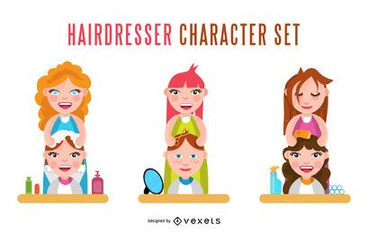 Conjunto de caracteres de cabeleireiro