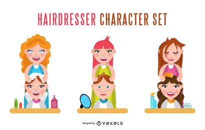 Conjunto de caracteres de peluquería