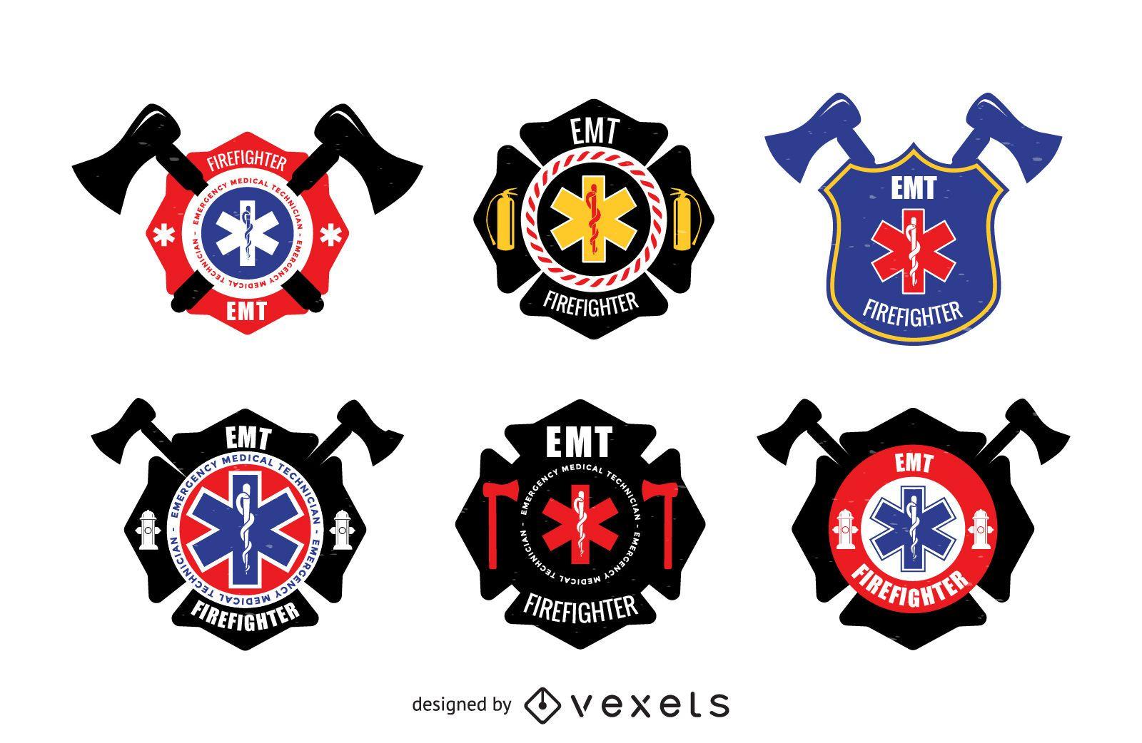 EMT badge logos set