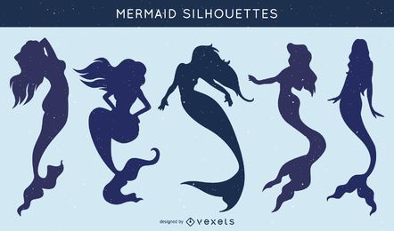 Set of mermaid silhouettes