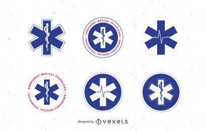 Conjunto de modelos de logotipo de médico e emergência