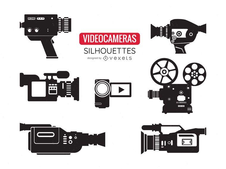Conjunto de silhuetas de câmera de vídeo