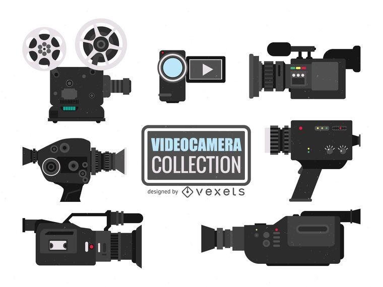 Colección de ilustraciones de cámaras de video.