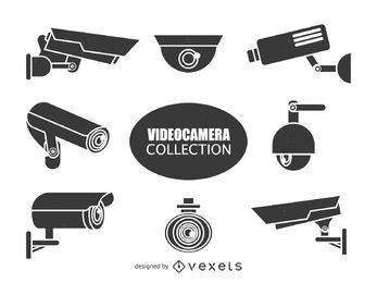 Colección de siluetas de cámaras de vigilancia