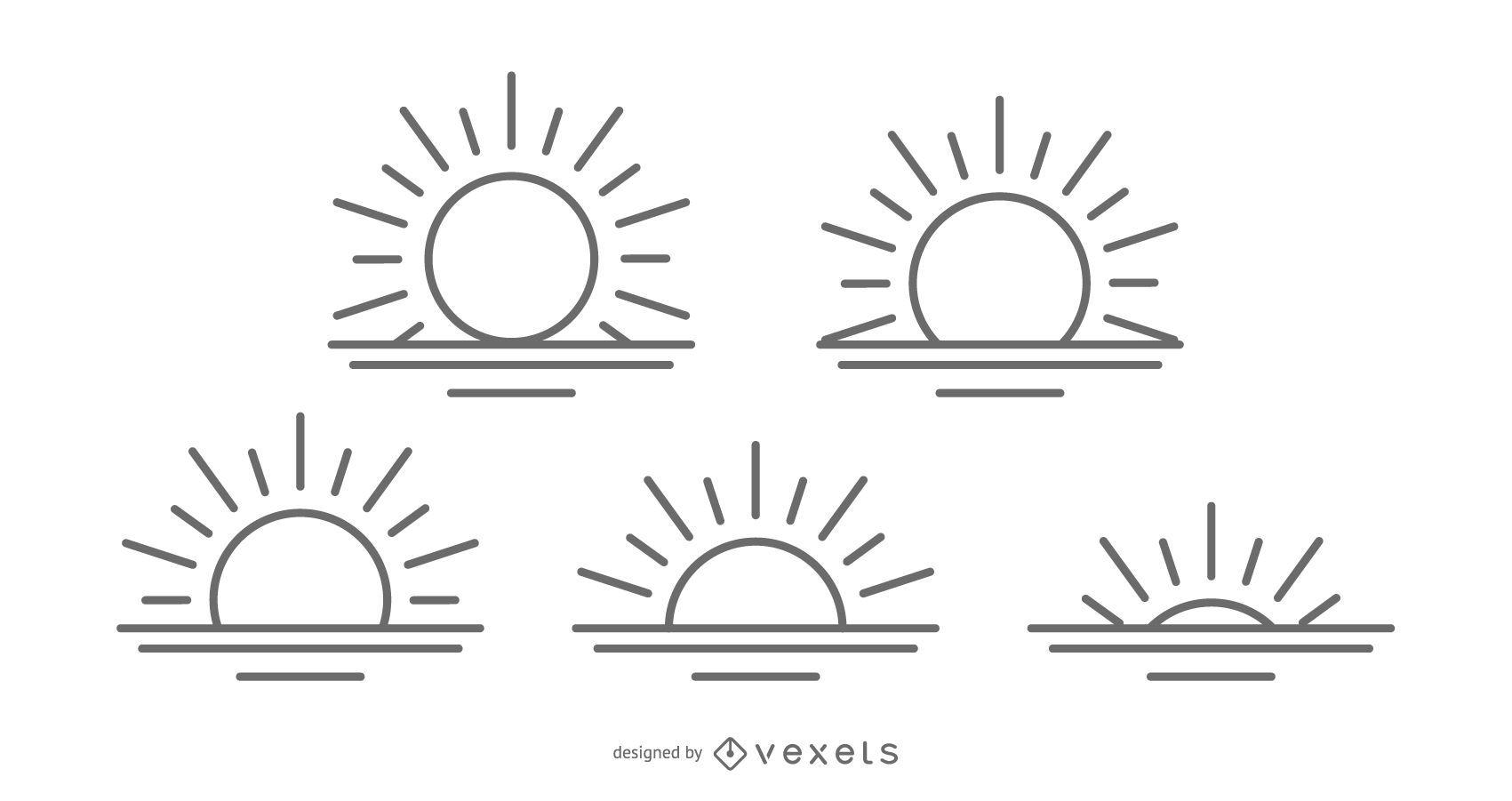 Coleção de ícones do nascer do sol
