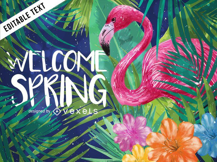 Fondo de primavera bienvenida tropical