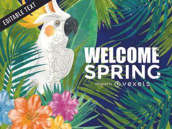 Fondo de ilustración de cacatúa de primavera tropical