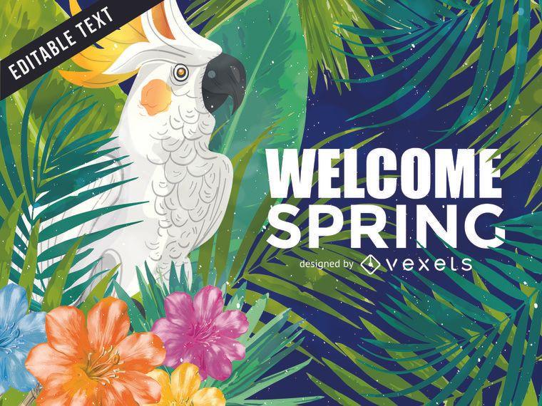 Fondo de ilustración de cacatúa tropical de primavera
