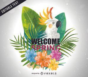 Bienvenida, primavera, brillante, cacatúa, ilustración