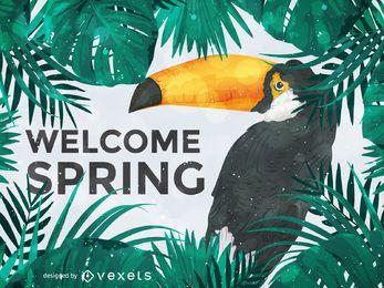 Tucán ilustración bienvenida primavera