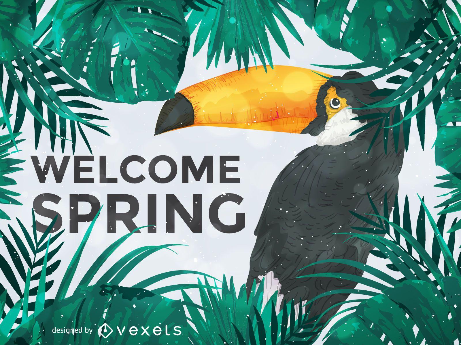Ilustración de tucán dando la bienvenida a la primavera