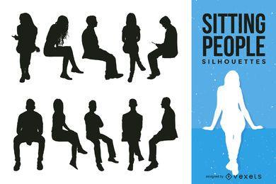 Coleção de silhueta de pessoas sentadas
