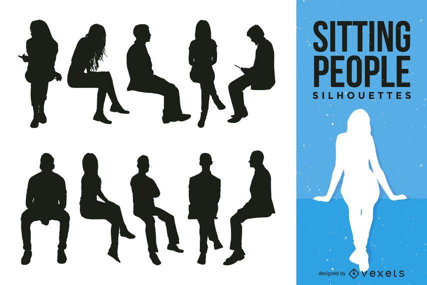 Sentando, pessoas, silueta, cobrança