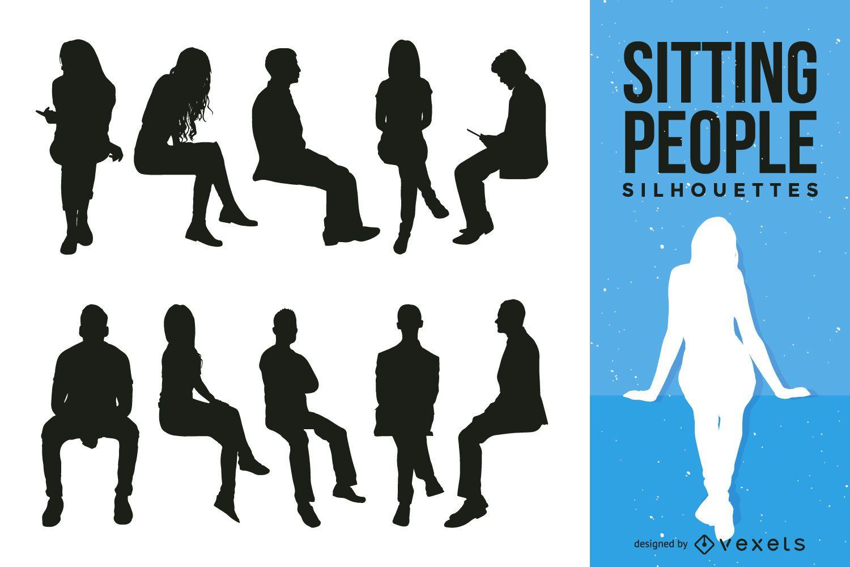 Colección de silueta de personas sentadas