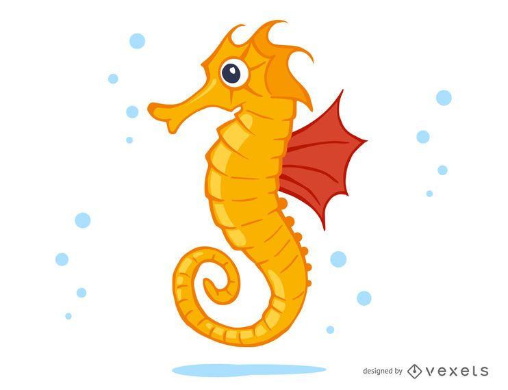 Seahorse-Karikaturillustration