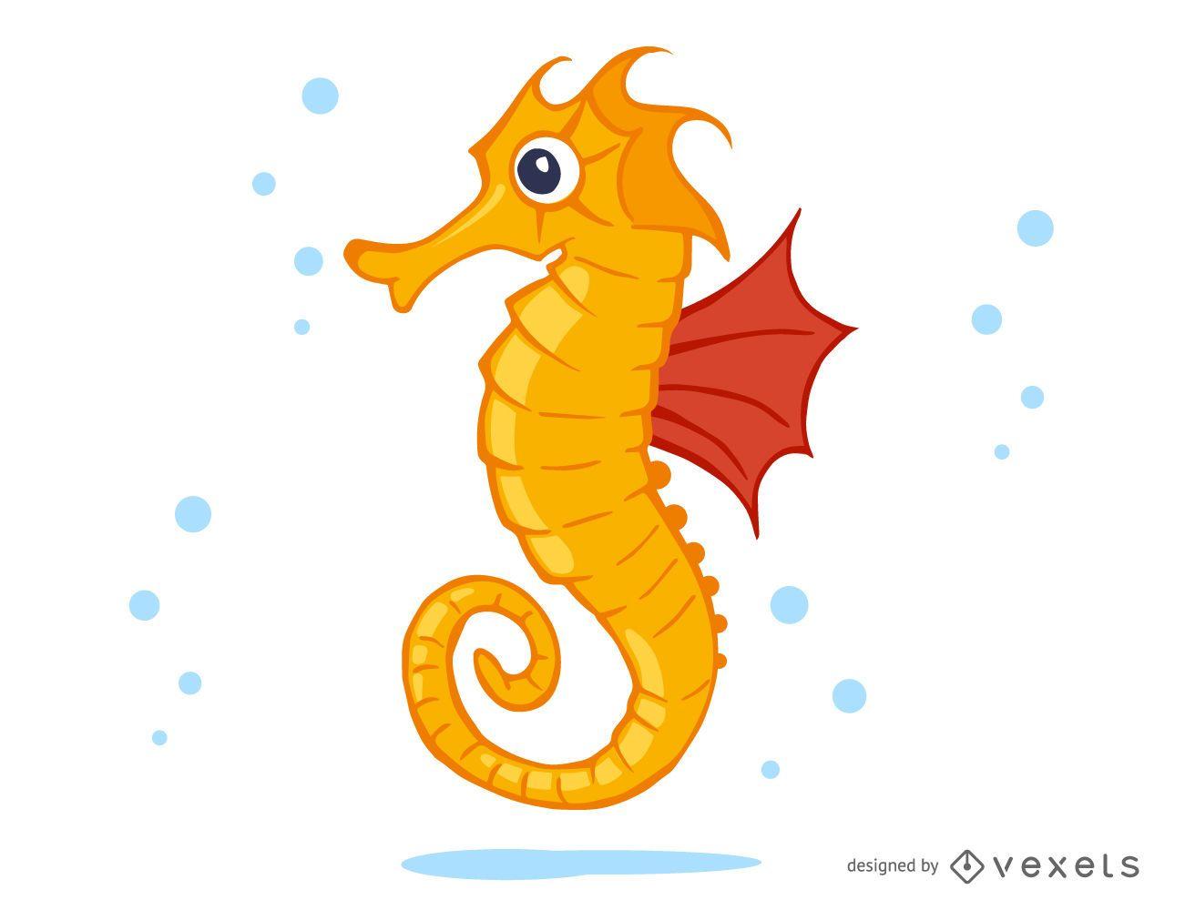 Seahorse Cartoon Illustration Vector Download
