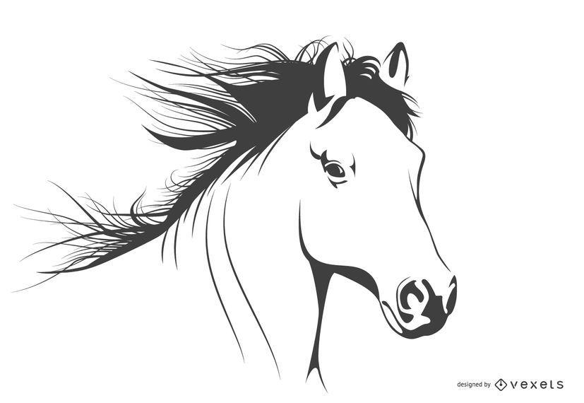 Cavalo, isolado, ilustração