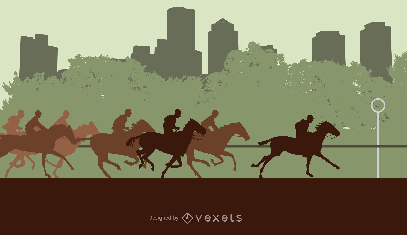 Ilustración de silueta de carrera de caballos