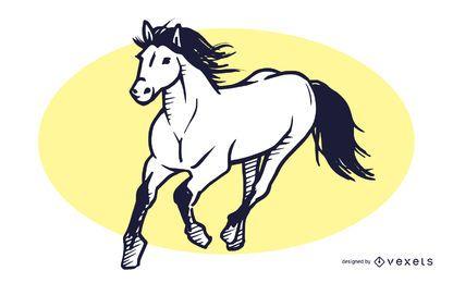 Ilustración de dibujado a mano de caballo corriendo