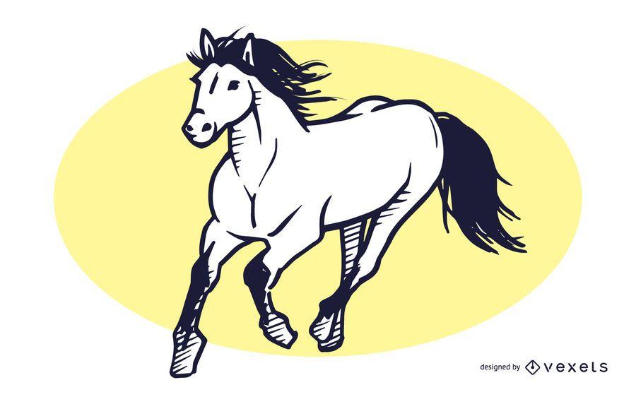 Cavalo, corrida, mão, desenhado, ilustração
