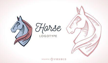 Cavalo, logotipo, modelo, ilustração