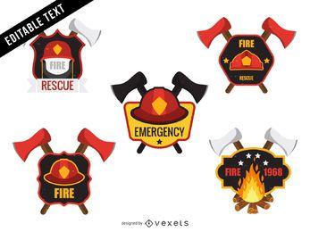 Conjunto de modelo de distintivo de bombeiro bombeiro