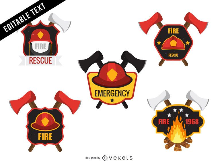 firefighter logo badge template set vector download