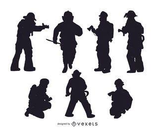 Conjunto de silhuetas de bombeiros