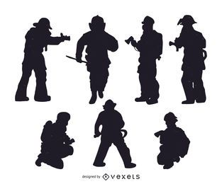 Conjunto de siluetas de bombero.