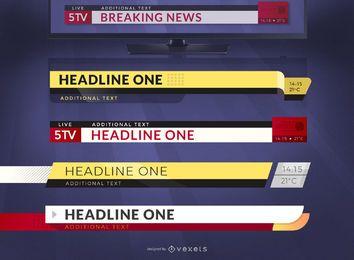 Conjunto de plantillas gráficas de titulares de noticias de última hora