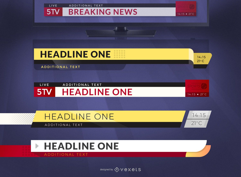 Breaking news headlines graphic template set