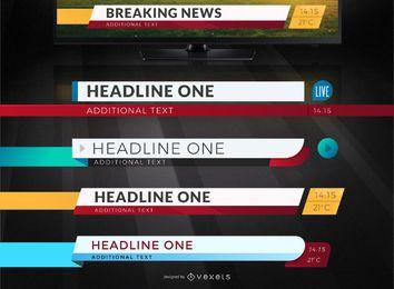 Conjunto de titulares de noticias de televisión