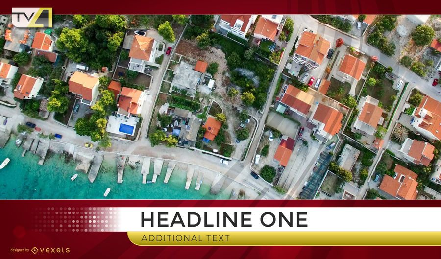 Bird view television headline graphic