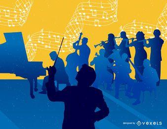 Fondo de orquesta de música